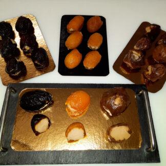 Fruits fourrés au foie gras